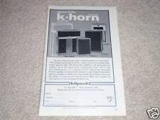 """Klipsch K-Horn! Klipschorn,Cornwall,LaScala Ad, 6""""x9"""""""