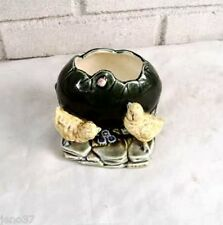 Rare Antique Majolica Pottery Spoon Warmer Chicks, Egg, Ladybug, Flowers