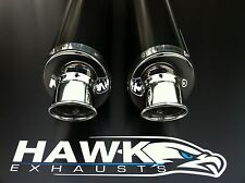 Aprilia Falco SL 1000 Pair of Hawk Black Oval Exhaust Cans Silencers, Road Legal