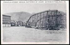 PITTSBURGH PA Franklin Street Bridge Battered By Water Vintage Flood Postcard PC