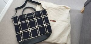 WANT Les Essentiels De La Vie O'hare Navy Wool Check & Leather Tote Bag. BNWOT
