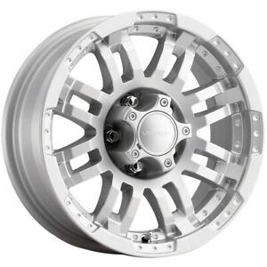 """Vision 375 Warrior 17x8.5 6x5.5"""" +25mm Silver Wheel Rim 17"""" Inch"""
