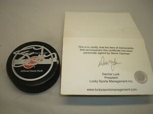 Steve Yzerman Signed Detroit Red Wings Official Game Hockey Puck Stevie Y COA 1A