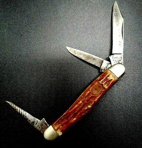 "Vintage Camillus #64, 3 3/8"" Long, 3 Blade, Cattleman Knife, New York, USA"