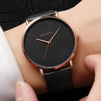 Men Trendy Ultra Thin Minimalist Watch Slim Mesh Stainless Steel Strap Quartz