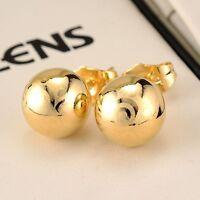 18k Yellow Gold Filled Charm Earrings Ball bead ear stud 9mm GF Women's  Jewelry