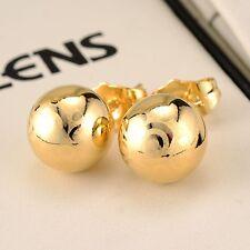 18k Yellow Gold Filled Charm Earrings Ball 10mm bead earstud GF Women Jewelry