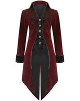 Fashion Mens Tailcoat Jacket Red Velvet Goth Steampunk Aristocrat Regency