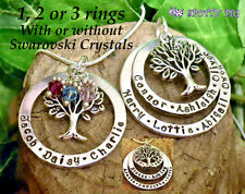 Personalised Necklace Names Family Tree of Life, Gift Hand Stamped Mother Xmas
