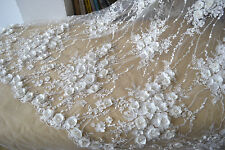 "51"" 3D Floral Pearls Bridal Lace Fabric Corded Embroidery Wedding Lace 0.5 Yard"