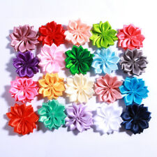 30PCS 4CM Mini Satin Ribbon Solid Flower For Hair Accessories