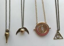 Harry Potter Necklace Lot of 4: Snitch Time Turner Deathly Hallows Felix Felicis