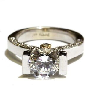 Frank Reubel 14k white yellow gold round cubic zirconia cz engagement ring 8.5g