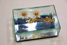 VINTAGE BEVELED GLASS JEWELRY TRINKET BOX DAISY FLOWER FLORAL MIRRORED BASE