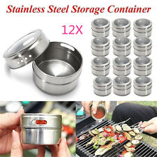 12x Magnetic Spice Tin Stainless Steel Storage Container Jar Clear Lid D:6.5cm A