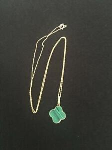 New Van cleef arpels Style Necklace gold 18k 750 16inches green pendant