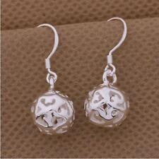 925 Sterling Silver PL Filigree Flower Heart Ball Drop/Dangle Hook Earrings Gift