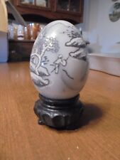 Collectible Marble egg etched with scene Black white gray