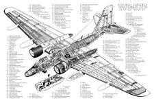 MARTIN WB-57F  AIRCRAFT CUTAWAY POSTER PRINT 24x36 HI RES
