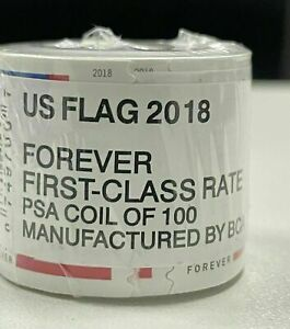 USA US Rolls of 100 American Flag 55¢ - Unopened! USA FREE SHIPPING 2018