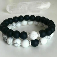 Bracelet Gift Hot Couples Bracelets Yin Yang Matte Agate White Howlite Beaded