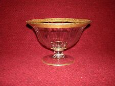 Vintage Crystal Centerpiece/Candy Dish Mid-Century European with Gold Banding