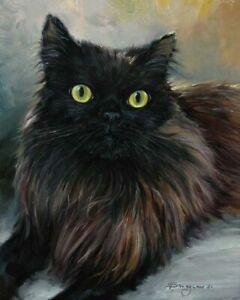Original oil painting, Black cat, artist Vladislav Shurganov