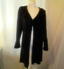 Vintage Suzie Womens Black Ruffled Sweater Jacket Medium