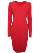 Ex M&S Slimming Fit Body Contour V-Neck Midi Dress Red Black Green Plum Navy