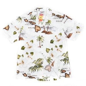 NEW White Map Hawaiian Aloha Shirt Pacific Legend Made in Hawaii 410-3614 NWT