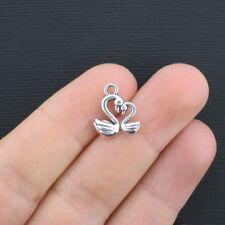 10 Swan Charms Antique Silver Tone 2 Sided - Sc2583