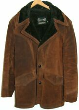 Vintage Sears Leather Shop Suede Fur Lined Coat Jacket Leather Buttons 40R