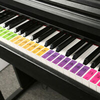 Piano Keyboard Stickers for 51 61 or 88 Key Keyboards Removable and Colorful