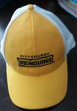 Vintage Pittsburgh Penguin Hockey Yellow and White Baseball Trucker Hat Cap
