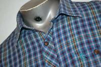 12567-a Mens Penguin Munsing Wear Dress Shirt Blue Plaids Size Large