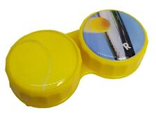 Yellow Tennis Flat Contact Lens Storage Soaking Case - L+R Marked - UK Made