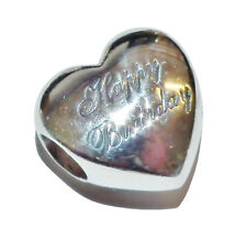 Pre-Owned Sterling Silver Happy Birthday Heart Charm/Bead