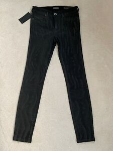 NEW Womens Diesel Black Gold Type 161C Super Skinny Cropped Black Jeans Size 26