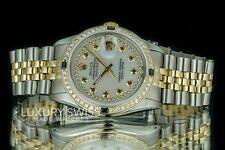 Rolex Men's Datejust 16013 Two-Tone 36mm White MOP Sapphire Diamond Dial Bezel