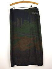 Ralph Lauren Skirt Size 16 Wrap Scenic Castle Design Leather Tabs Wool Blend