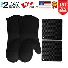 Silicone Oven Mitts and Pot Holders, 4-Piece Set, Heavy Duty Cooking Gloves