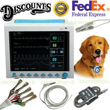 Portable Veterinary Vital Signs ICU Monitor,ECG+NIBP+SPO2+PR+RESP+TEMP, US Fedex