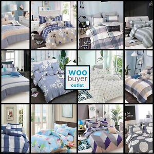 Floral Pattern Strip Duvet Cover Quilt Cover Bedding Set Single Double King Size