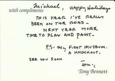TONY BENNETT, compliments card with handwritten message, ORIGINALLY SIGNED!