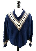 GAP Mens Jumper Sweater L Large Grey White Blue Wool & Cotton Retro Loose Fit