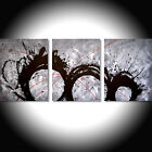 acrylic painting canvas triptych modern art artist abstract wall black white