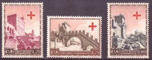 1951 Serie Pro Croce Rossa 3 Val Nuovi Integri MNH San Marino 369-71