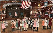 VENICE, CA California    Interior of DANCING PAVILION  CUTE KIDS 1911  Postcard