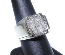 Mens 14k White Gold Princess Cut Invisible Setting 3.00ct Diamond Ring