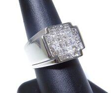 Mens 14k White Gold Princess Cut Invisible Setting 3.00ct Diamond Ring